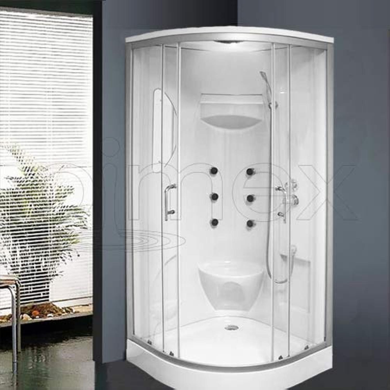 OimexGmbH Duschtempel Set Lorene  ECO Duschkabine 90 x 90 x 215 cm mit Armaturen Massagefunktion Dusche Sicherheitsglas (ESG)