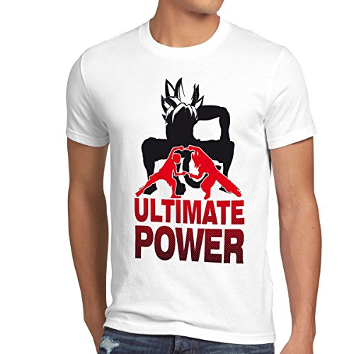 style3 Goku-Luffy Fusion Ultimate Power T-Shirt Homme, Taille:2XL;Couleur:Blanc
