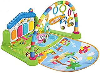 COOLBABY Large Play & Learn Infant Gym Toys Piano Activity - Baby Kick and Gym Play Mat Lay & Play 3 in 1 Fitness Music an...