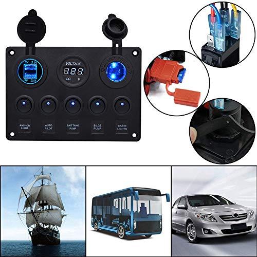JEANS DREAM Pannello Controllo Interruttori 5 Gang con 2 USB e Voltmetro LED Rocker 12V / 24V per Auto, Barca e Marina