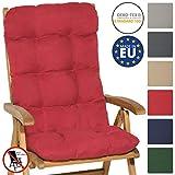 Beautissu Cojín para sillas de balcón Flair HL - Cojín para Asiento Exterior con Respaldo Alto - 120x50x8 cm - Relleno de Copos de gomaespuma - Rojo