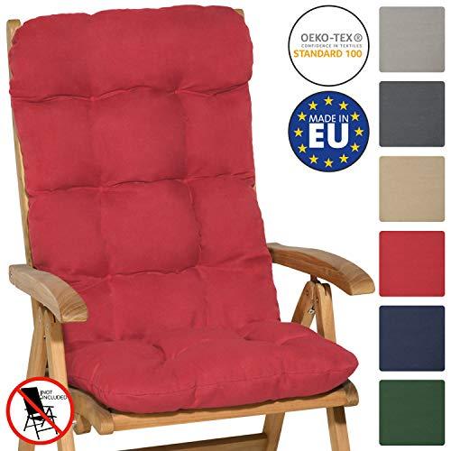 Beautissu Hochlehner Auflage 120x50x8cm Flair HL Sitzkissen Hochlehner Rückenkissen Schaumflockenfüllung Sitzpolster Rot