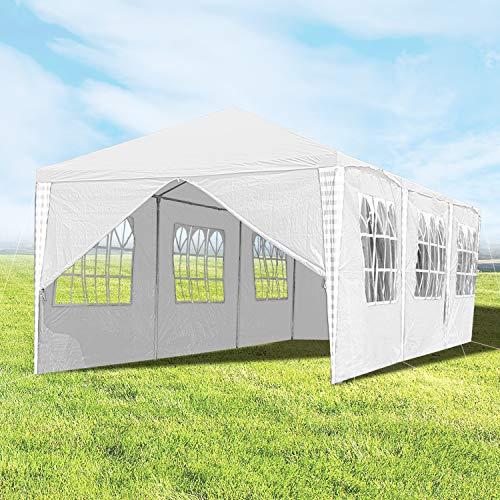 Hengda - Tenda da Giardino, 3 x 9 m, con Pannelli Laterali, Protezione UV, Struttura in Acciaio Verniciato a Polvere, per Matrimoni, Giardini, Feste