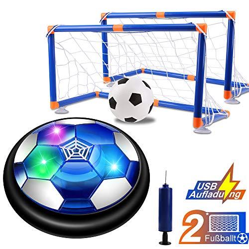 NEWYANG Air Power Fußball Set,Wiederaufladbar Innen&Außen Hover Ball ,Fussball Spielzeug mit Bunt LED, Sehr sicheres und lustiges Indoor-Spielzeug,Football ohne Möbel oder Wände zu beschädigen