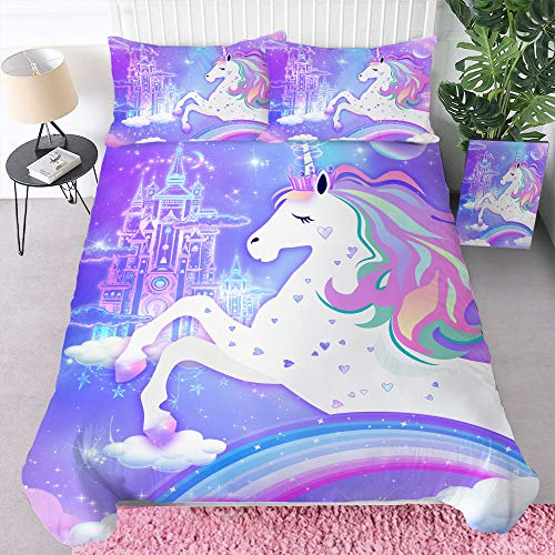 "Bonsai Tree Unicorn Duvet Cover, Rainbow Twin Comforter Set 3 Piece, 3D Girls Microfiber Bed Set with Zipper Closure, Purple Soft Bedding Set Gifts for Kids (1 Duvet Cover+2 Pillow Shams), 68""x86"""