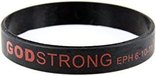 8030004 3 Pieces Black with Red Adult Imprinted Silicone Band Eph. Ephesians 6:10-11
