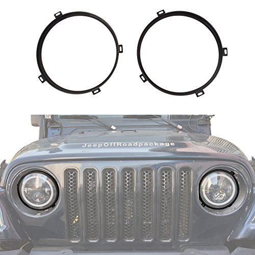 u-Box for Jeep Wrangler 7 inch Headlight Mounting Bracket Retainer Ring Mount in Black Compatible with 1997-2006 Jeep Wrangler TJ
