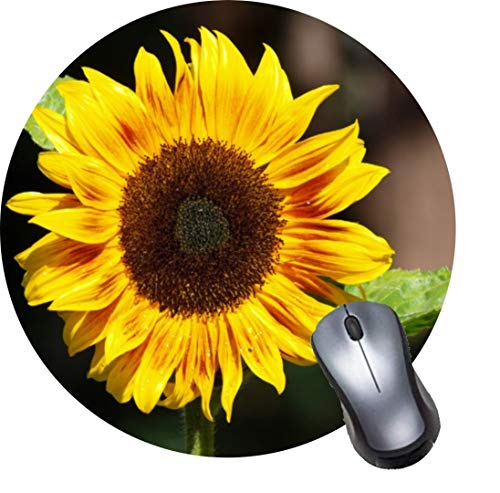 Gaming Computer Mouse Pad with Non-Slip Rubber Base, Premium Round Mousepads-Bright Yellow Sunflower