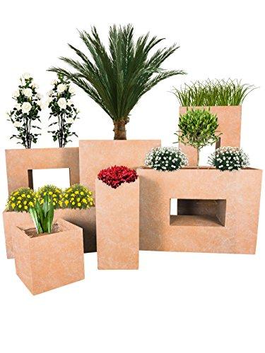 Pflanzwerk® Jardinera Fibra de Vidrio Cube Terracota 23x23x23cm *Maceta a Prueba de...