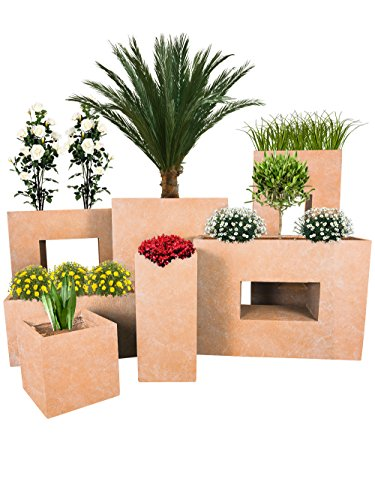 Pflanzwerk® Jardinera Fibra de Vidrio Cube Terracota 23x23x23cm *Maceta a Prueba de heladas* *Protección UV* *Calidad Europeo*