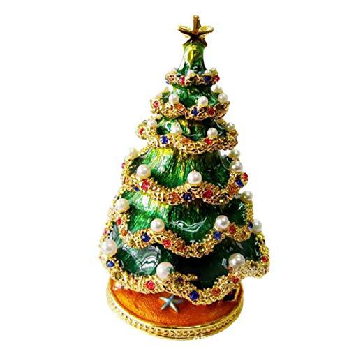 Jishu Christmas Tree Ornament Box Jewelry Box Storage Case Enamel Craft Decoration