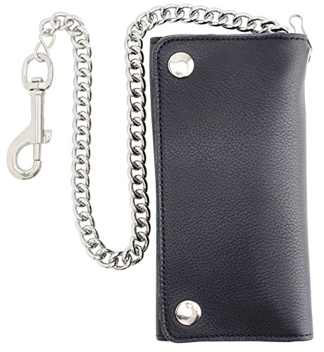 RFID Blocking Men's Tri-fold Vintage Long Style Cowhide Top Grain Leather with Steel Chain card holder Wallet,Snap closure, Made In USA,G-tc339-black…