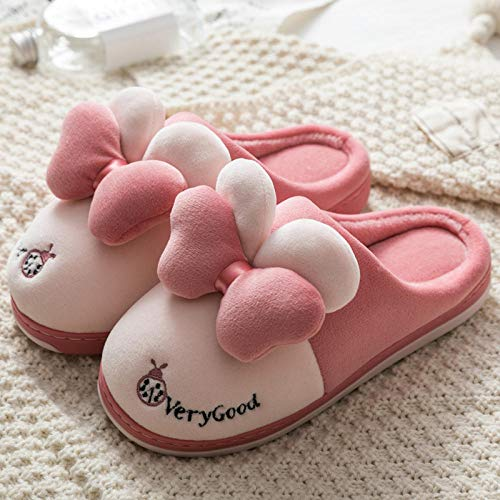 B/H CáLido Pantuflas Zapatos,Pantuflas de algodón Antideslizantes para Interiores, Pantuflas cálidas de Suela Gruesa-J_37-38,Zapatos Antideslizante Pantuflas