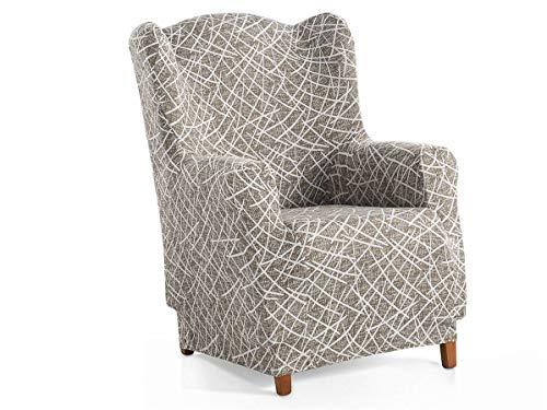 Lanovenanube - Funda sillón Orejero Grecia - Elástica - Color Blanco/Negro C17