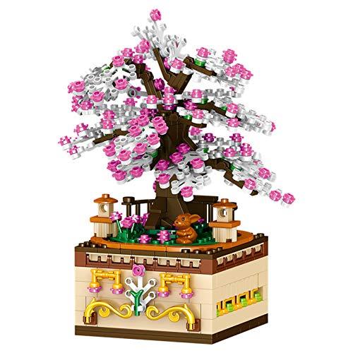 FJJF Romántico Sakura Rotating Music Box Block Niños Creador Ensamblado Juguetes Educativos Regalo De Cumpleaños Navideño (487Pcs)