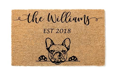 French Bulldog Personalized Doormat | Frenchie | Custom Doormat | Welcome Mat | Housewarming Gift | Last Name Door Mat | Closing Gift