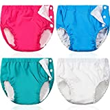 Huukeay 4 Pieces Swim Diapers Reusable Baby Swim Diapers Adjustable Snap Swim Diapers Washable Pool Swim Diapers Boys Girls Toddlers Waterproof Swimming Pants for Unisex Baby 12-24 Months