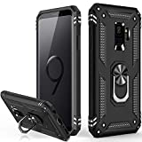 Galaxy S9 Case,Military Grade 16ft. Drop Tested Dual Layered Heavy Duty Cover with Magnetic Ring Kickstand Compatible with Car Mount Holder,Protective Phone Case for Samsung Galaxy S9 Black