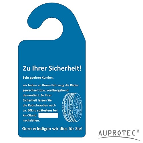 AUPROTEC Kundendienst Anhänger Serviceanhänger Werkstatt Spiegelanhänger Auswahl: 100 Stück, Anhänger Räder nachziehen