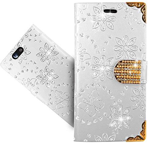 FoneExpert® Wileyfox Spark/Spark+ / Spark Plus Handy Tasche, Bling Luxus Diamant Wallet Hülle Flip Cover Hüllen Etui Hülle Ledertasche Lederhülle Schutzhülle Für Wileyfox Spark/Spark+ / Spark Plus