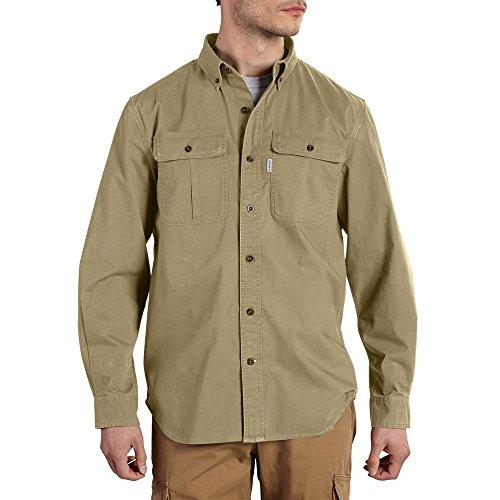 Carhartt Men's Long Sleeve Solid Work Shirt, Dark Khaki, Medium