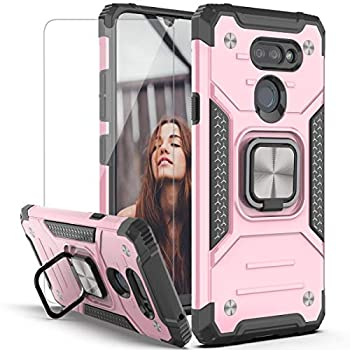 YmhxcY Phone Case Compatible with LG Premier Pro Plus L455DL,LG Xpression Plus 3 / LG Harmony 4 with HD Screen Protector,Armor Grade with Rotating Holder Kickstand for LG K40s/ K41/K400-KK Rose Gold