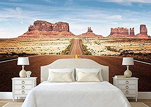 ZZXIAO Papel tapiz fotográfico de habitación 3D Murales de paisaje para sala de estar Highway Rock Canyon Tv Mural de pare Decoración Fotomural sala Pared Pintado Papel tapiz no tejido-430cm×300cm