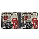 Billetera De Hombre Cabina Telefónica London Vintage Red Bus Formato De Cartera Tarjetero Cartera Fina De Piel