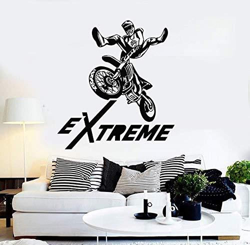 supmsds Vinylwand Applique Extreme Motorrad Sport Wettbewerb Test Freistil Motocross Aufkleber, Home Wandaufkleber 79X88CM