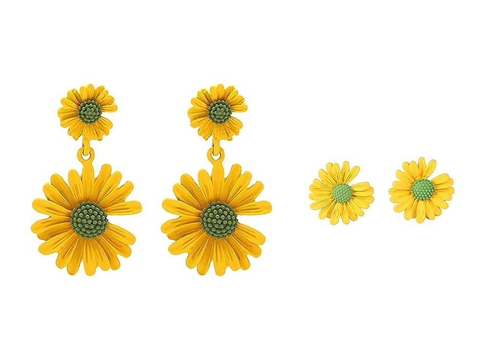 パステル乳白色植生PANCY フェイスピアス 4個セット レディース デイジー ヒナギク模様 金属アレルギー対応 ホワイト ピンク 黄色 オレンジ 緑 5色セット 花 プレゼント