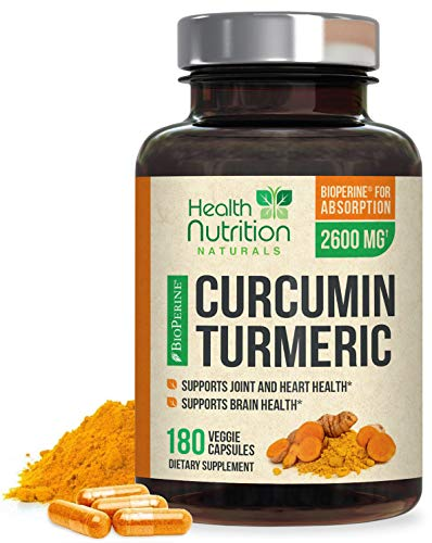 Turmeric Curcumin with BioPerine 95% Curcuminoids 2600mg with Black Pepper for Best Absorption, Made in USA, Natural Immune Support, Turmeric Supplement by Health Nutrition - 180 Capsules