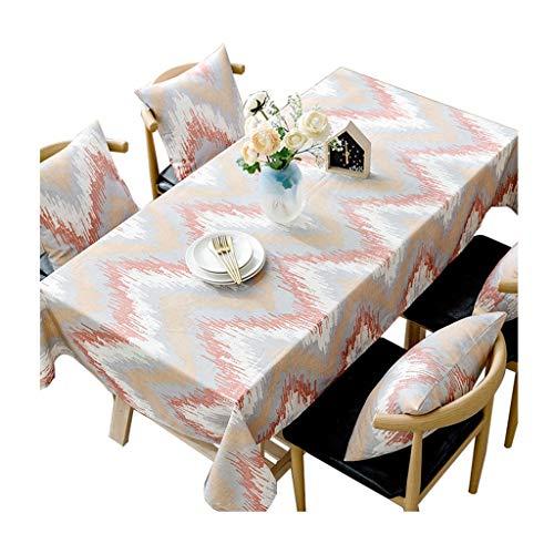 William 337 Mantel de lino y algodón, rectangular, lavable, estilo nórdico, para cena, verano y picnic, a rayas cálidas (color: A, tamaño: 110 x 170 cm)