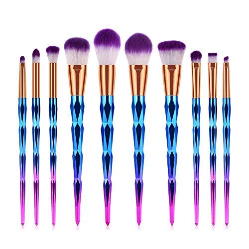 OPSBNWEUYS 10pcs pinceaux de Maquillage Poudre lèvre Sourcils Eyeliner Fard à paupières fusionné mélange Mise en surbrillance Brosse