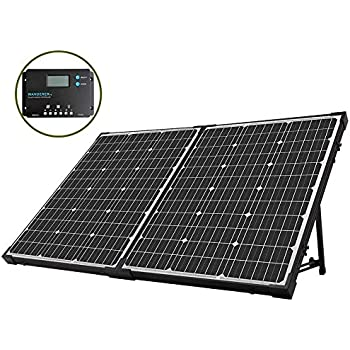 HQST 100 Watt 12Volt Off Grid Monocrystalline Portable Foldable Solar Panel Suitcase with 10A Charge Controller