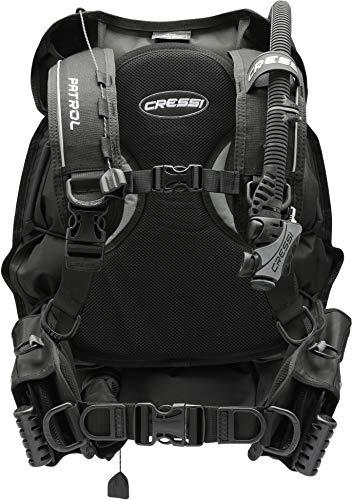 Cressi Patrol -Tarierjacket der EXTRAKLASSE- Professionnels Model mit Blase auf der Rückseite, Schwarz, XS