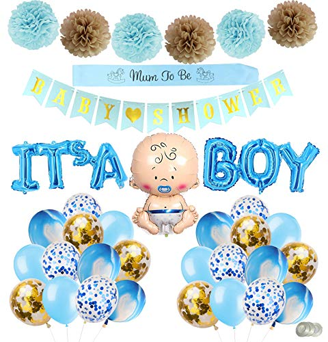 Ohighing Babyparty Deko Junge - IT'S A Boy Luftballons, Mummy to be Schärpe, Baby Shower Girlande, Baby Boy Luftballons, 24 Luftballons, 6 Pompoms