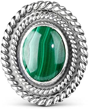 American West Sterling Silver Choice of Gemstone Oval Magnetic Insert for Ring or Bracelet