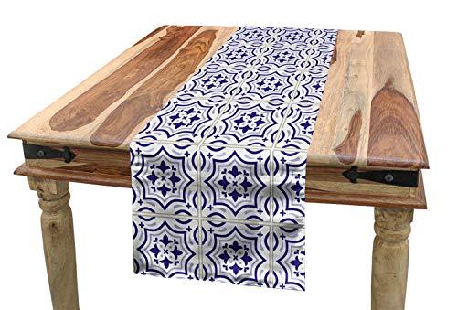 ABAKUHAUS Azul Marino Camino de Mesa, Azulejo Portugués, Decorativo Estampado Digital Apto Lavadora No Destiñe, 40 x 225 cm, Cáscara De Huevo Azul Violeta Azul Gris