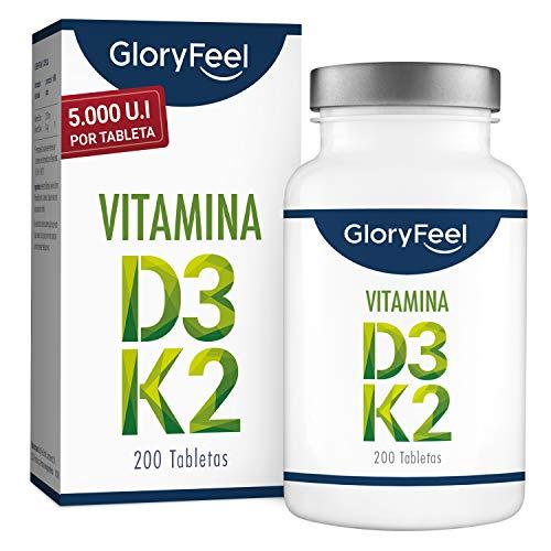 Vitamina D3 + K2-5.000 UI de Vitamina D3 + 200 µg Vitamin K2-200 Tabletas - Premium: Vitamina K2 de 99,7+% All Trans MK7 (K2VITAL® de Kappa) - Hecho en Alemania