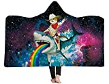 3D Cat Riding A Shark Galaxy Printed Hooded Blanket Wearable Blanket Plush Blanket Hood Poncho Men Women Throw Sherpa Fleece Soft Winter Novelty Blanket for Bed Home Sofa 60X80 Inch