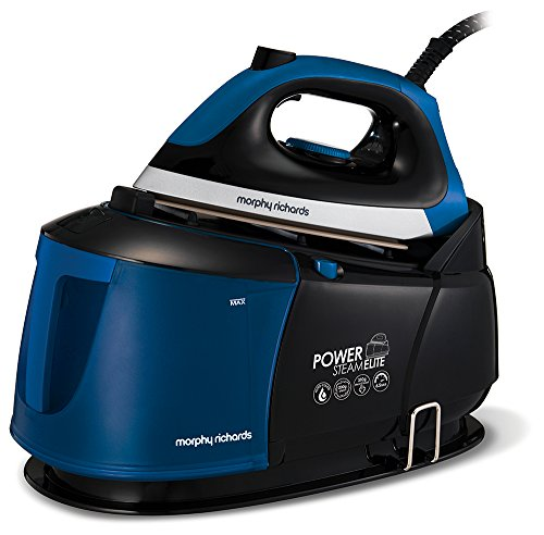 Morphy Richards Power Steam Elite Steam Generator with Auto-Clean and Safety Lock 332016 Steam Generator Iron 6.5 Bar Blue/Black, 2400 watts
