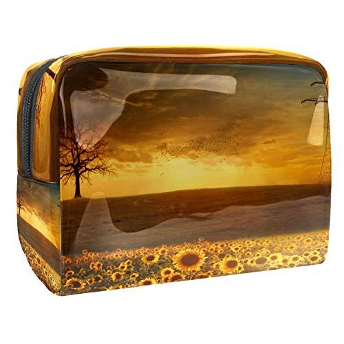 Trousse de maquillage multifonction pour les produits de toilette de voyage - Pour femme - Tournesol - Jardin - Coucher de soleil - Jaune