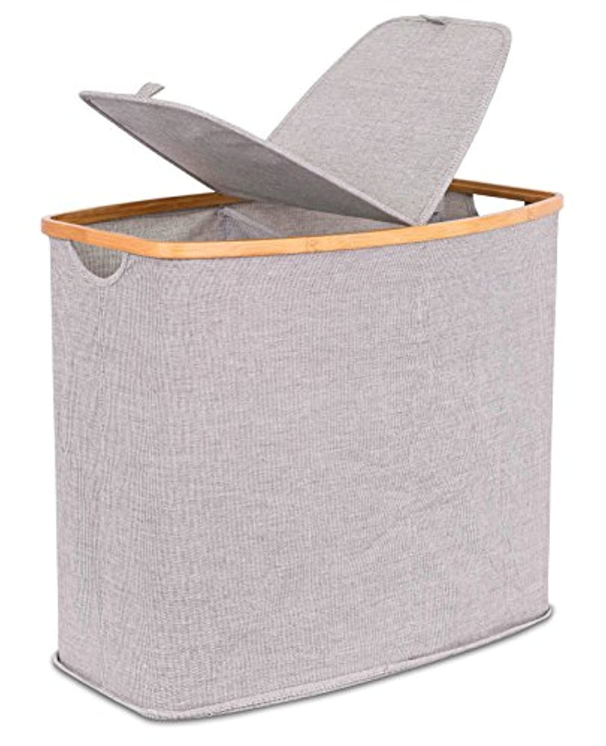 BIRDROCK HOME Divided Bamboo & Canvas Hamper   Double Laundry Basket with Lid   Modern 2 Section Foldable Hamper   Cut Out Handles   Grey Narrow Design   Great for Kids Adults