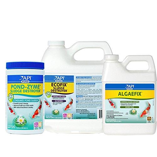 API Pond Essentials Bundle Includes ALGAEFIX Algae Control, Pond-Zyme Sludge Destroyer Pond Water Water Cleaner with Barley, and ECOFIX Sludge Destroyer Pond Water Clarifier and Sludge Remover