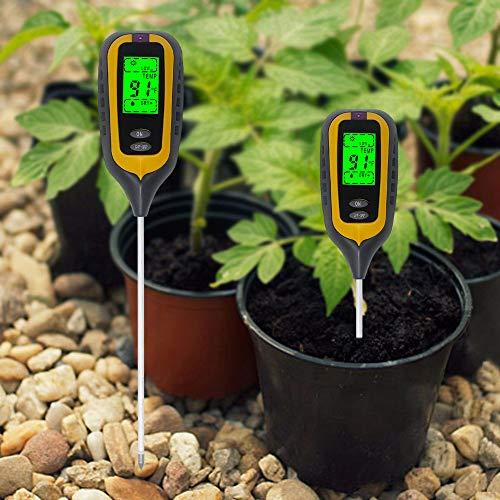 KETOTEK Soil Test Kit for pH Moisture Sunlight Temperature 4 in 1 pH Tester Soil Moisture Meter Soil Light Meter for Garden Outdoor Indoor Plants Yellow