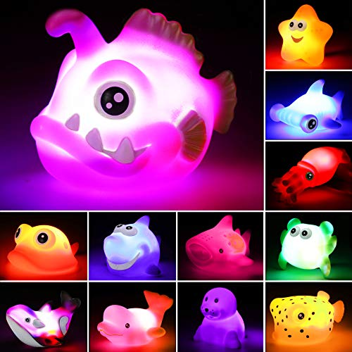 Bath Toys, 12 Pcs Light Up Ocean Sea Animal Set, Flashing Colorful LED Light Floating Bathtub Toys for Baby Infant Kid Toddler Preschool, Great Gift for Bathroom Water Tub Games Swimming Pool Party