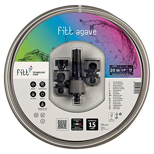 FITT Agave 1/2' (12,5mm) 20m - Manguera de Color Gris para Riego de Jardín, Robusta, para Uso Muy Frecuente, con Lanza y Racores.