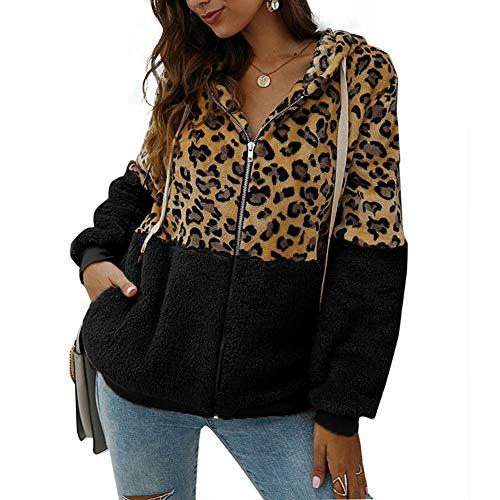 Sudadera con Capucha para Mujer Abrigo con Estampado de Leopardo Chaqueta Caliente...