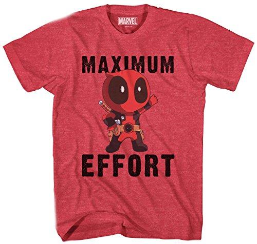Marvel Deadpool Chibi Maxiumum Effort Men's T-Shirt (Large, Heather Red)