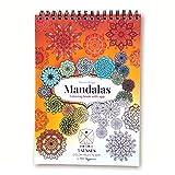 Bloc de colorear mandalas para adultos encuadernado libro en espiral con papel premium tamaño A4 e impresión a una cara con app 5 senses color palette